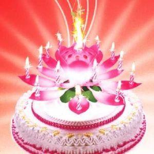 Музыкальная свеча лотос Happy birthday