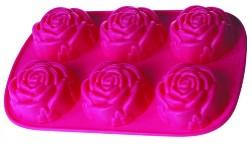 Розы - форма длявыпечки, желе и мыла. 6 ячеек.